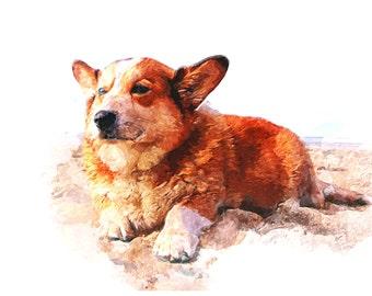 Custom Portrait Pet Dog Portrait Painting Watercolor Digital Painting Photo Custom Art Custom Watercolor Painting Portrait From Photo - IDP3