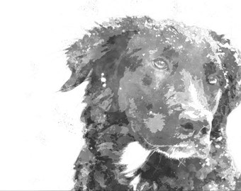 Custom Portrait Pet Dog Black and White Painting Watercolor Digital Painting Photo Custom Art Custom Painting Portrait From Photo - IDP15