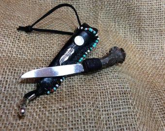 Vintage Handmade Miniature Knife Stag w/Adorned Sheath