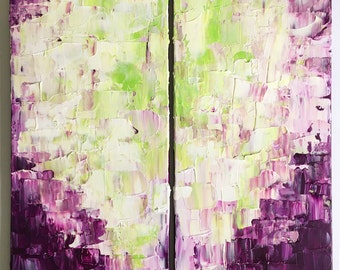 Original abstract painting. Acrylic on 2 12 x 24 in. stretched canvases. Art, modern, interior design, wall decor