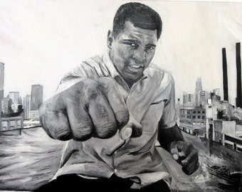"""Muhammad Ali in the city, 28"""" x 22"""" oil painting on canvas"""