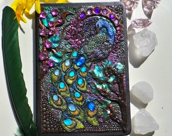 Notebook, journal with a peacock polymer clay cover Peacock notebook