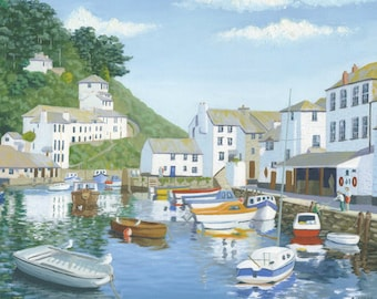 Polperro Harbour Original Oil Painting on Stretched Canvas 24in x 20in (60 cm x 50 cm)