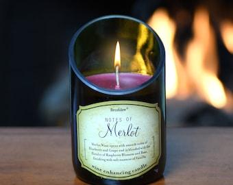 Merlot Wine Bottle Candle