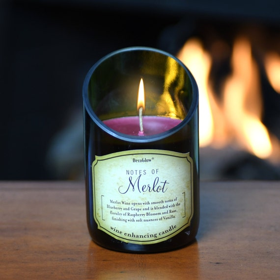 2-Piece Wine Bottle Candle with Beautiful Scent of Merlot. Superb Value Wine Gift. Very Unique.