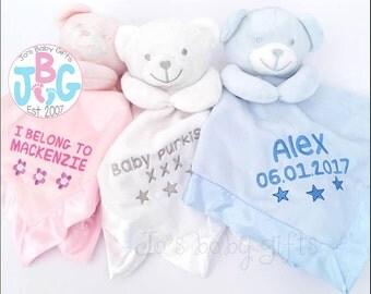 Personalised Baby Comforter, Teddy Bear Comfort blanket, New baby gift, baby boys and girls snuggle teddy, silk backing, teddy bear, blanket