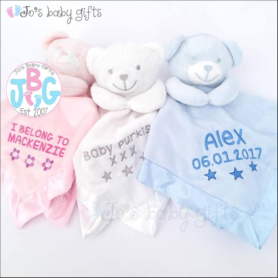 Personalised baby comforter teddy bear comfort blanket new baby personalised baby comforter teddy bear comfort blanket new baby gift baby boys and girls snuggle teddy silk backing teddy bear blanket negle Images