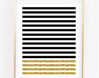 Black and Gold Stripes Printable