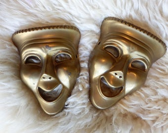 Vintage Solid Brass Theater Drama Comedy Masks, Wall Hanging, Happy Face, Mardi Gras, 2 available
