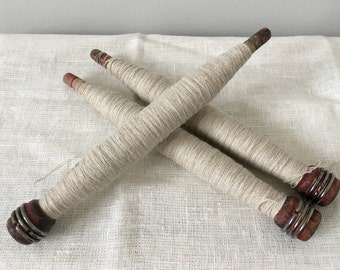 Antique Machine Bobbins, Primitive Wooden Bobbin
