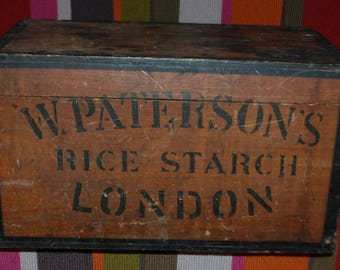 W. Paterson's Rice Starch Stained and Painted Pine Rectangular Storage Box 19th Century 1840 - 1870