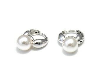 Pearl hoop earrings, daily women earrings, gift for mom, girlfriend gift idea, holiday special day earrings, Elyseej ewelry