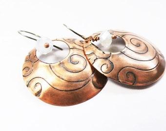 Copper disc earrings curved spiral pattern 925 earrings Opal Pearl