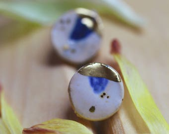 stud ceramic rounded earrings, handmade, new rustic, leaf, blue and gold