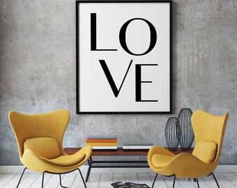Love Print, Printable Love, Typography Wall Art, Love Digital Print, Love Poster, Downloadable Prints, Nursery Wall Prints