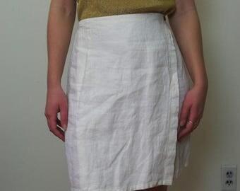LINEN high waisted white wrap skirt Sz S/M