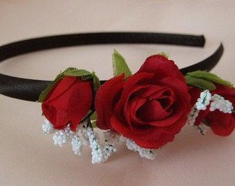 OOAK Romantic Dirndl flower headband black red white headpiece roses Oktoberfest