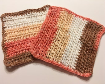Sandstone Stripes dish cloths or wash cloths set of 2