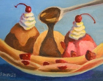 Whimsical FOOD PORTRAIT of Banana Split Ice Cream With Hot Fudge Drip, Kitchen Art in Original 5 x 7 Oil Painting by Sharon Weiss