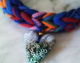 Handmade cotton necklace with heart in polymer clay