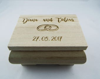 small wooden box for wedding rings, with wish engraving