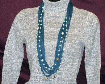 Blue T-Shirt Necklace with Blue Beads