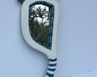 Mirror with wooden handle and chalk 46 x 21 cm