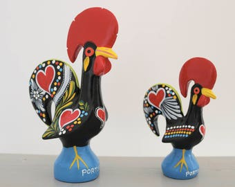 Portuguese Rooster size M and L. Traditional pattern, totally handpainted, Good Luck Rooster, gift.