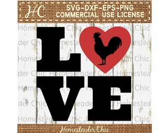LOVE Heart SVG with Rooster svg - chicken svg-love svg-heart svg-farmhouse-chicken decor-commercial use svg dxf eps png-rooster valentine