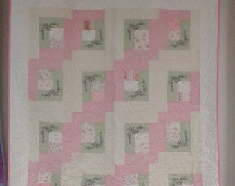 Handmade Pink Antique baby quilt