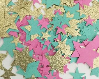Pink Mint Gold Confetti, Gold Glitter Confetti, Table Confetti, Star Party Confetti, 1st Birthday Confetti, Baby Shower, Party Decorations,