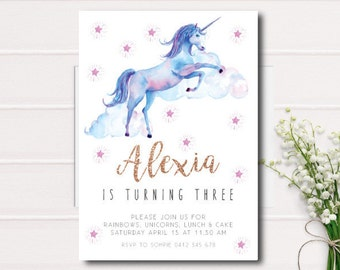 Unicorn Birthday Invitation, Third Birthday Invitation, Girls Birthday Invite, printable invitation, Birthday Unicorn, 1st bday invite, girl