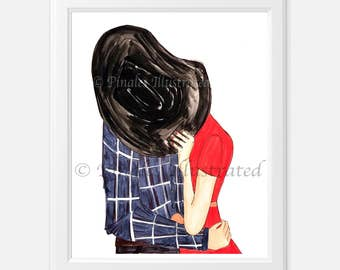 Couples embrace, country, rodeo, gifts for her, personalized gifts,  special occasions, love, PinalesIllustrated