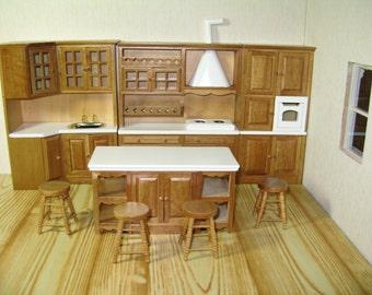 1:12 Scale New Dolls House Miniature Walnut Finish Kitchen Set