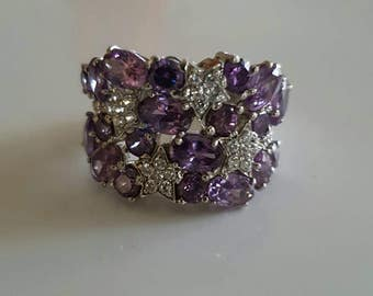 Purple and white star 925 sterling silver wide set band