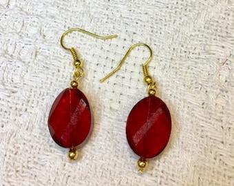 Red twist earrings