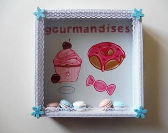 Wall decoration for cooking, delicacies, pastries - pastel blue and pink
