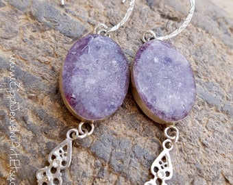 Purple silver glass drop earrings with silver drops. Gift / for her