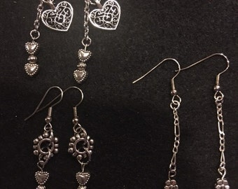 silver dangle hearts and butterflies