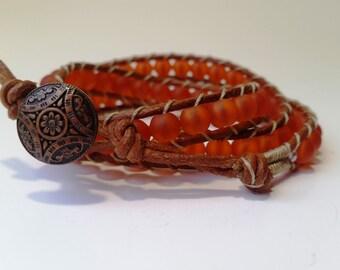 orange bracelet for women, orange bracelet, recycled bracelet, beaded bracelet, orange wrap bracelet, leather wrap bracelet, beaded wrap