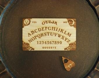Mini Engraved Laser Cut Wooden Ouija Board