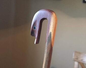 Wooden spoon - Swan bird head - vintage hand carved - dark light wood carving
