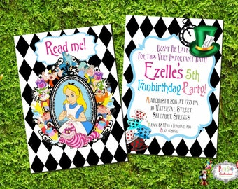 Alice in Wonderland Invitation - Birthday party invitation - Alice - Customised - ONLY Print at Home!