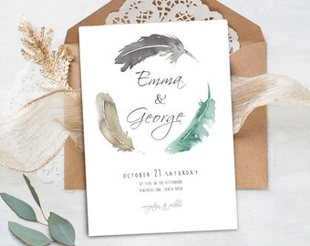 "Wedding invitation ""Emma Collection"", watercolor feathers,wedding invites,elegant design,fine style,boho,feather,handmade,bodas,invitaciones"