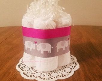 Pink Elephant Mini Diaper Cake