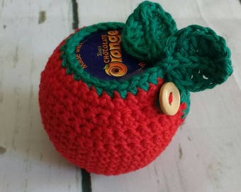 Crochet apple chocolate orange cosy (chocolate orange included). Teacher gift / present