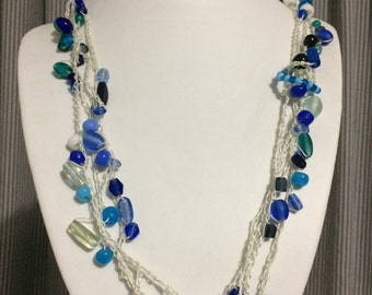 Knitted blue glass and lampwork necklace