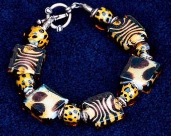 Animal Print Glass Bracelet