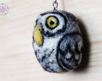 Sweet Little Yellow-eyed Owl with Key Ring Needle Felting Pure Wool