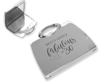 Personalised engraved fabulous 30TH birthday compact mirror gift idea, SILVER PLATED handbag mirror - FAB30